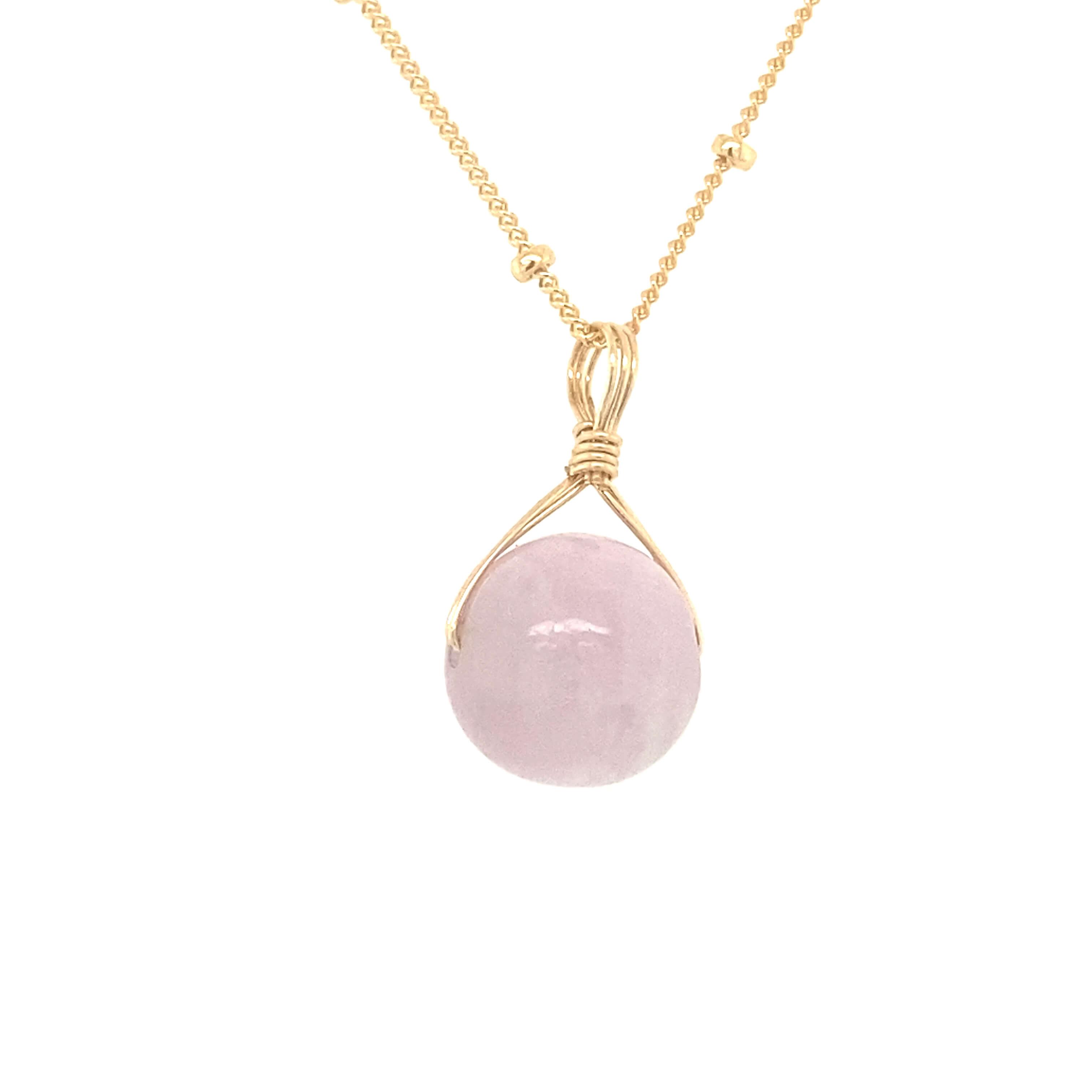 Pink Kunzite Orb (Gold Filled)
