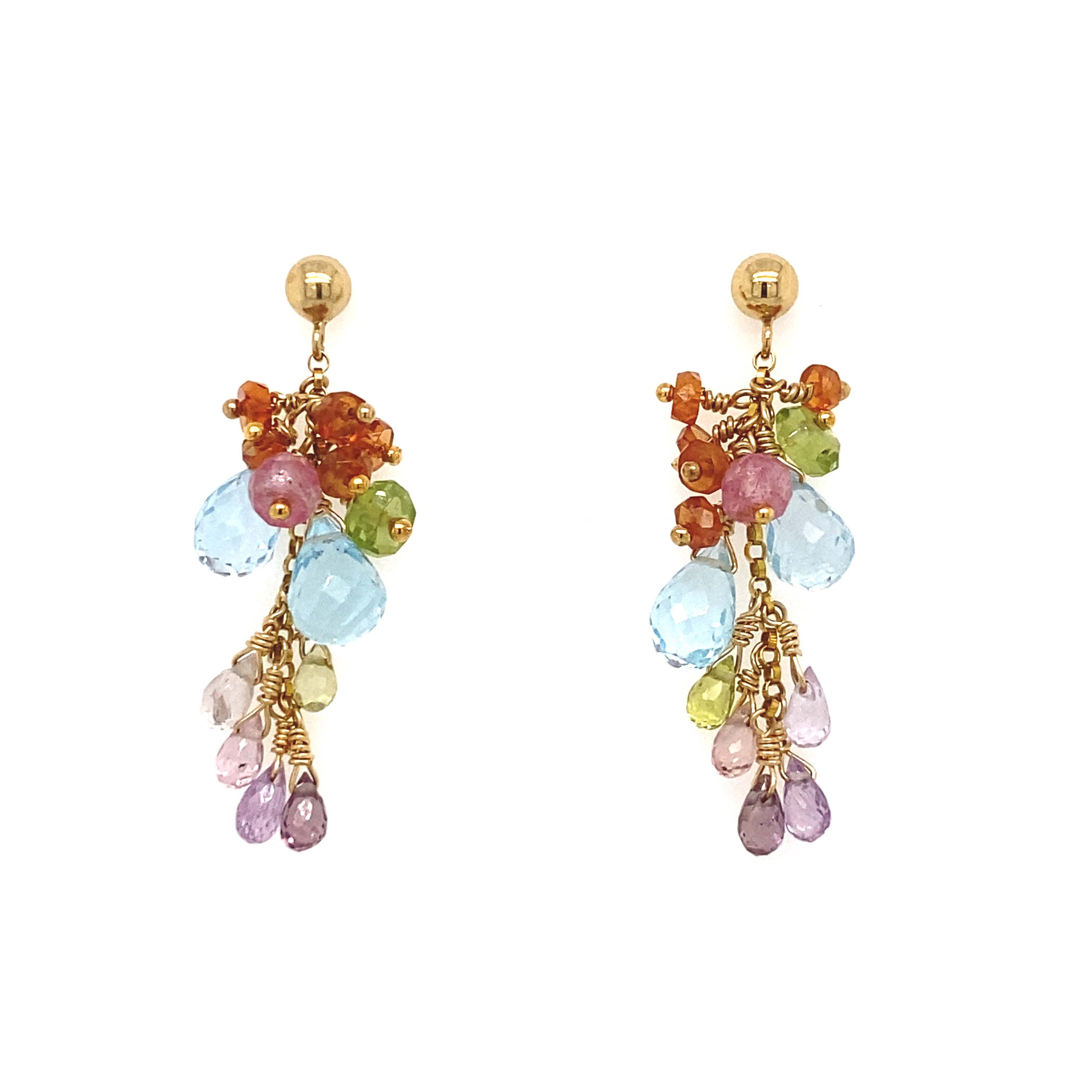 Sapphires Garnet Topaz Peridot Earrings in 14K Gold Fill, Multi Gemstone Earrings