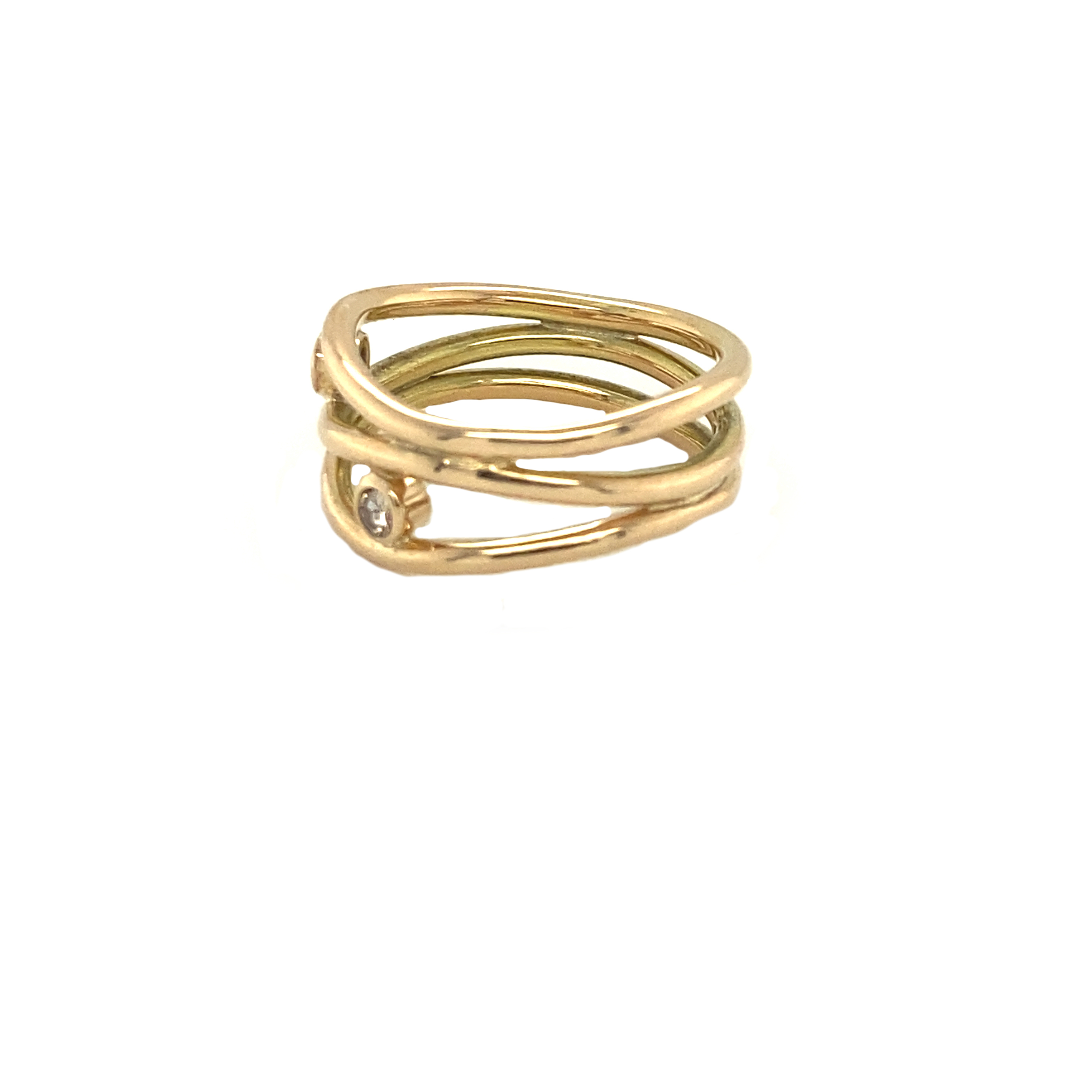 Twisted Gold and Diamond Ring