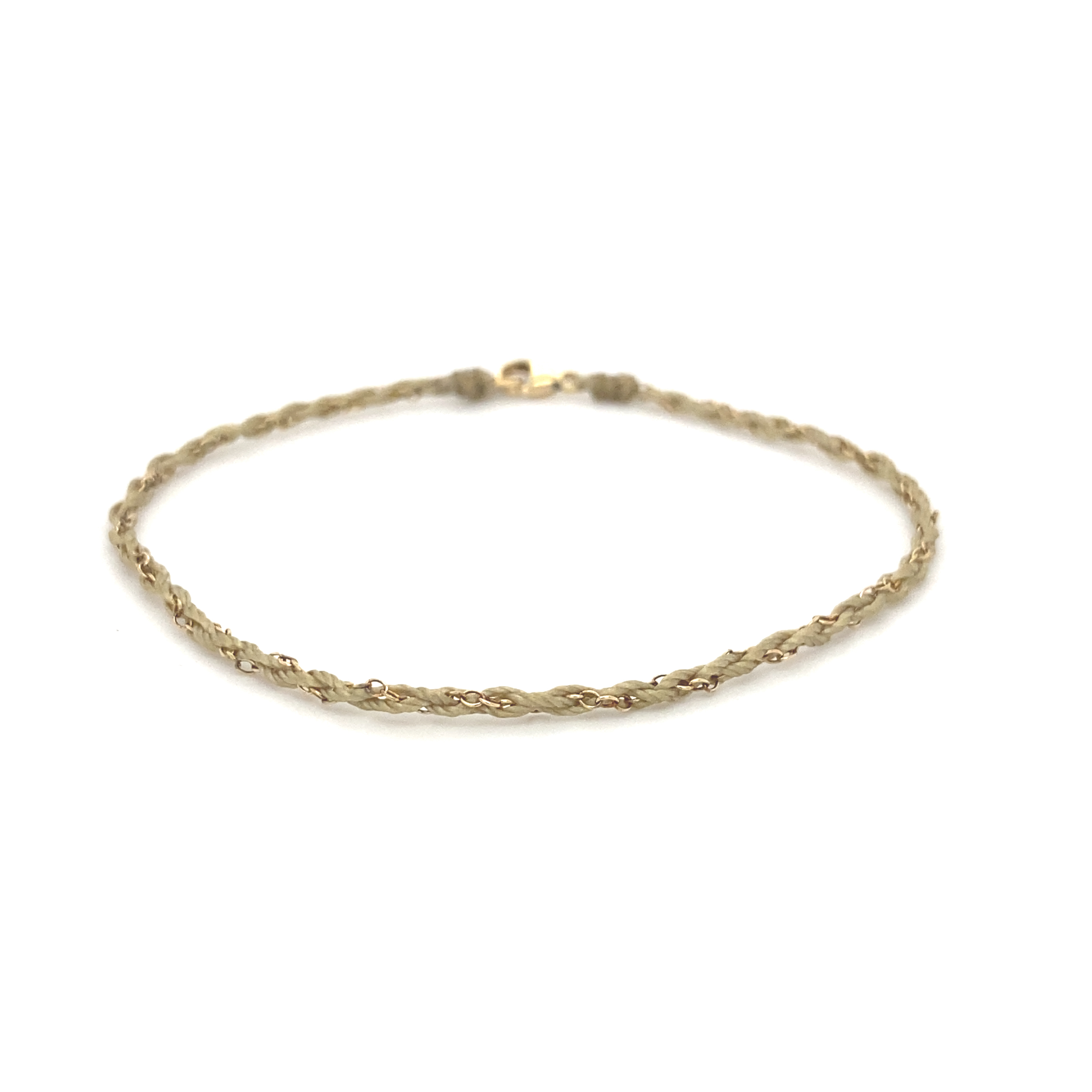 Skinny tan silk and 9ct gold chain bracelet