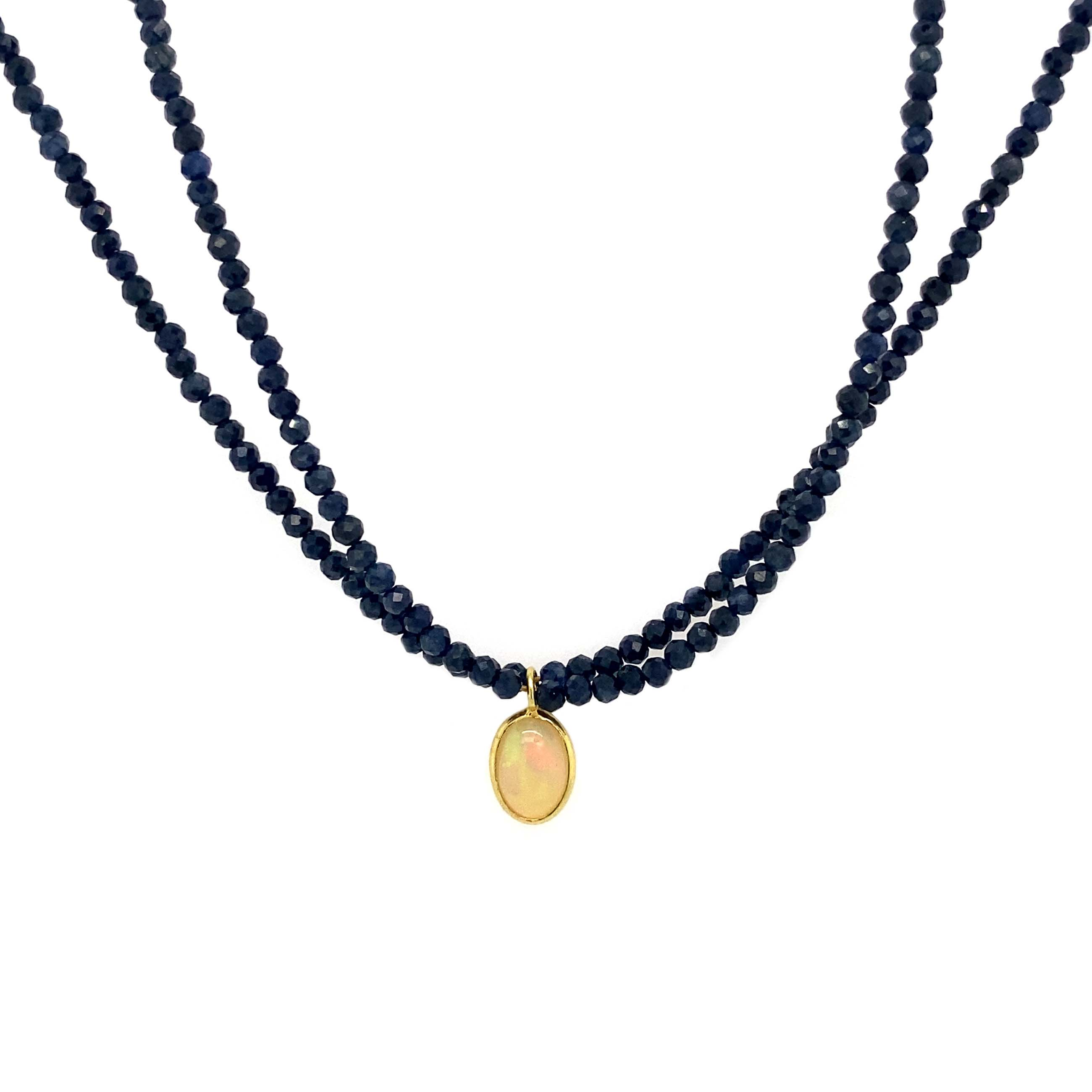 Gemstone Necklace, Opal and Sapphire Necklace