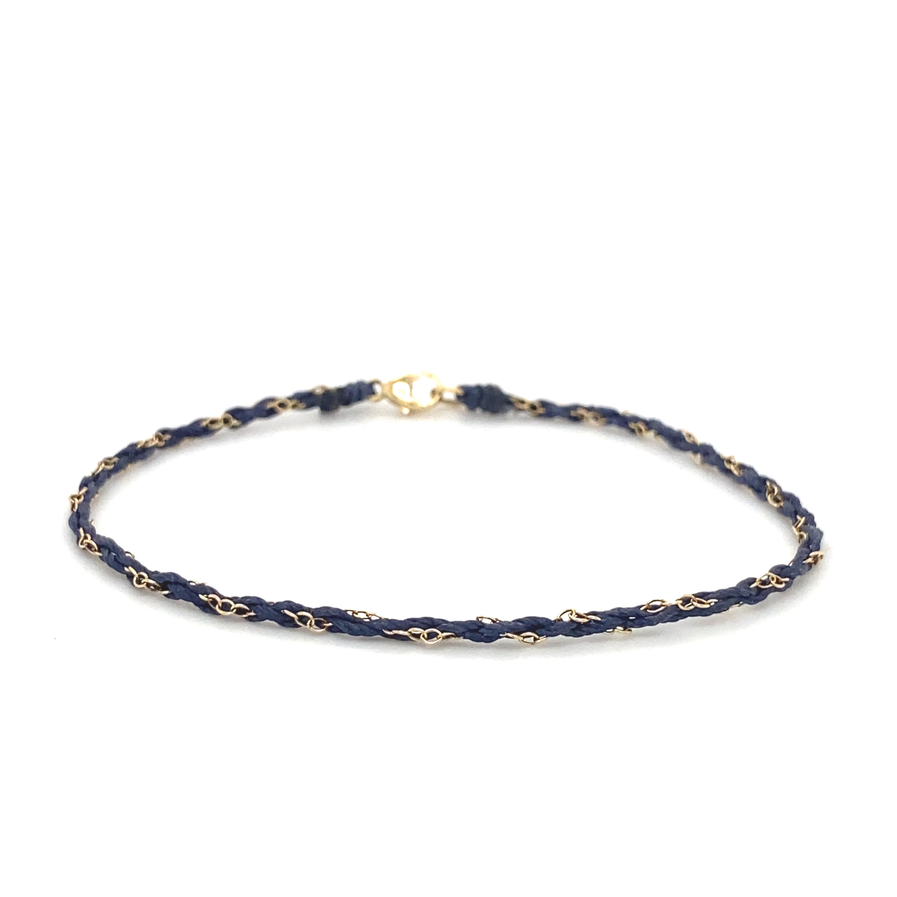 Skinny navy silk and 9ct gold chain braid bracelet