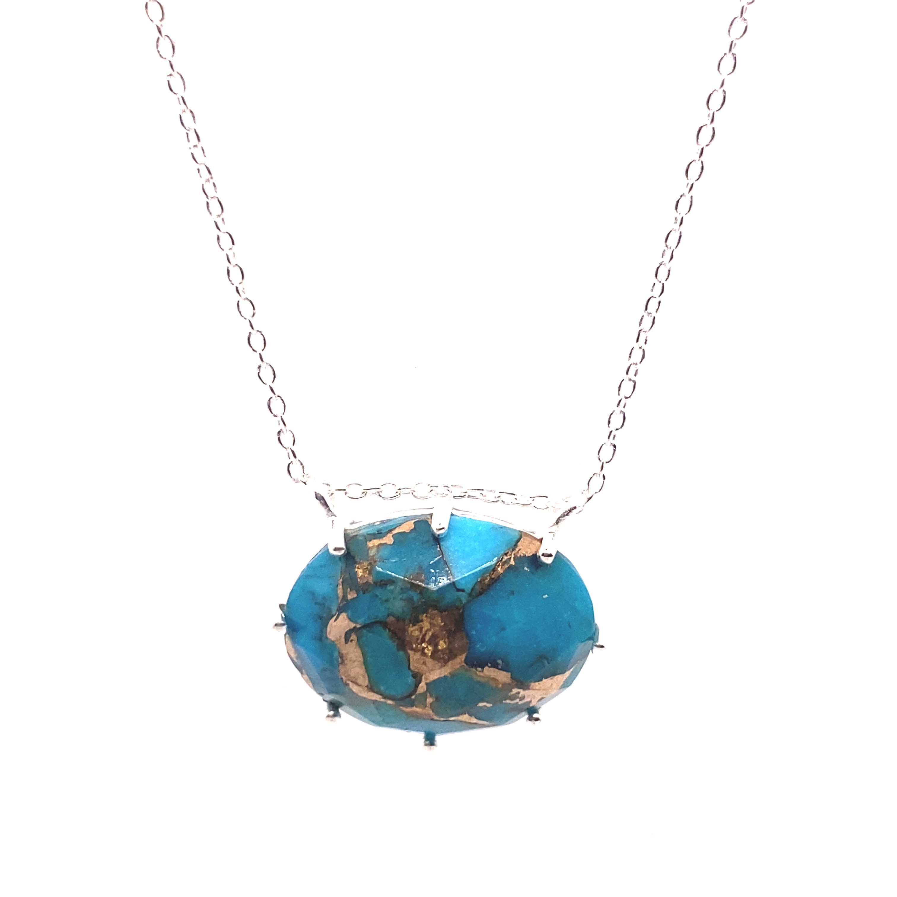 Erin | Copper Turquoise Necklace in Sterling Silver