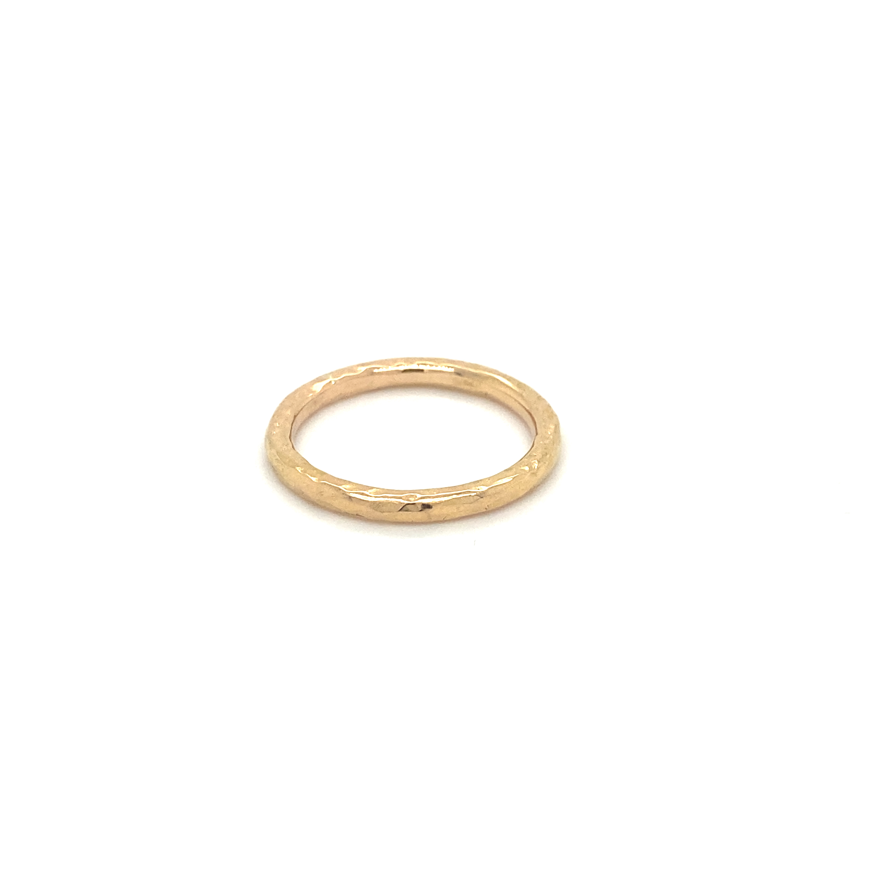 18ct rose gold hammered finish band